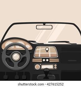 Vehicle interior. Inside car. Vector cartoon illustration