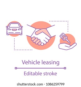 Vehicle leasing concept icon. Automobile hire or buying idea. Thin line illustration. Car rental. Vector isolated outline drawing. Editable stroke