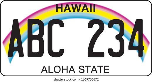 plaque d'immatriculation d'un véhicule à Hawaï