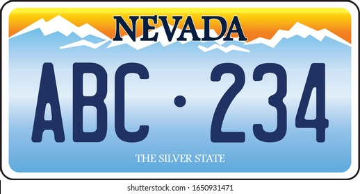 vehicle licence plates marking in Nevada in United States of America