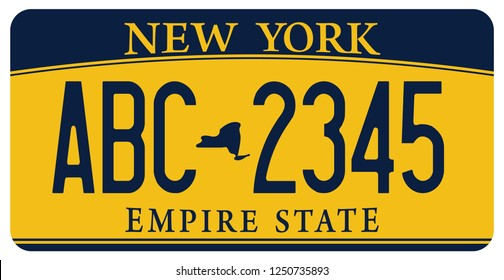 vehicle licence plates marking in New York ( Empire State) in United States of America