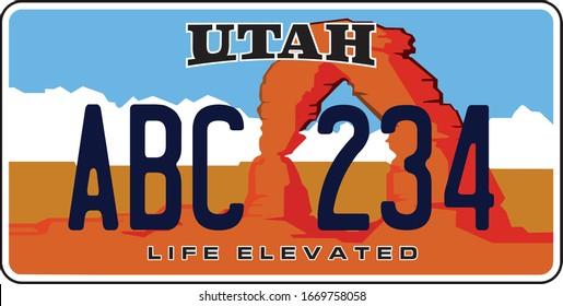 plaque d'immatriculation d'un véhicule en Utah