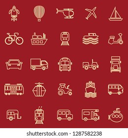 Vehicle line color icons on red background, stock vector