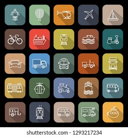 Vehicle line flat icons with long shadow, stock vector