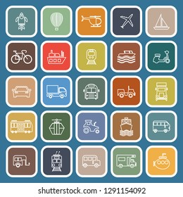 Vehicle line flat icons on blue background, stock vector