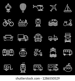 Vehicle line icons on black background, stock vector