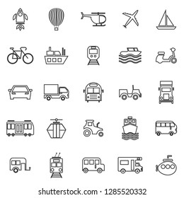 Vehicle line icons on white background, stock vector