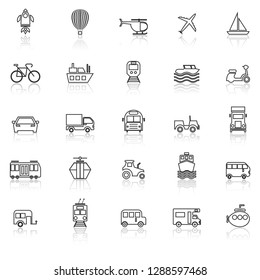 Vehicle line icons with reflect on white background, stock vector