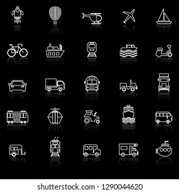 Vehicle line icons with reflect on black background, stock vector