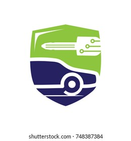 vehicle locksmith with a shield, bold car with a car key and shield, car with a key logo, key with circuit lines, mobile locksmith logo, symbol design, isolated on white background