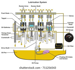 Vehicle Lubrication System infographic diagram showing cross section of car engine with all parts and path of lubricant oil and pan filter and gauge for mechanical and road safety awareness education