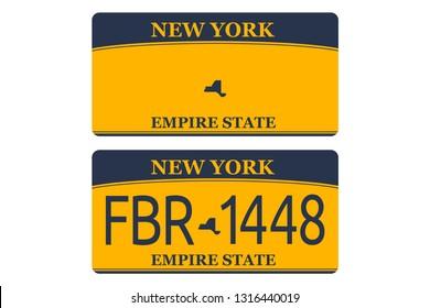 Vehicle registration of New York registration plates nummer car. Flat design EPS 10.