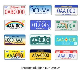 Vehicle Registration Number Plates Set Include of Arizona, Alaska and Colorado. Vector illustration of Transportation Information Signs