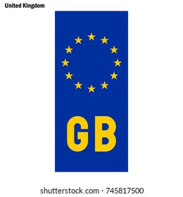 Vehicle registration plates of United Kingdom. EU country identifier. blue band on license plates