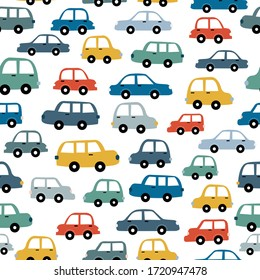 Vehicle seamless pattern hand has drawn Colorful and vintage car background Design used for fabric, fashion, textile, graphic, publication, vector illustration