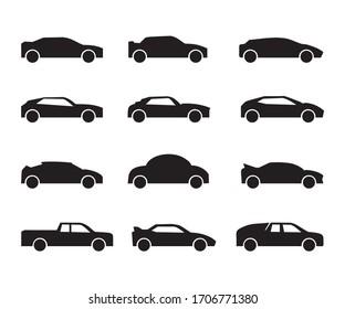 Vehicle set icon illustration. Collection of sedan car vector silhouette, black, flat, EPS 10.