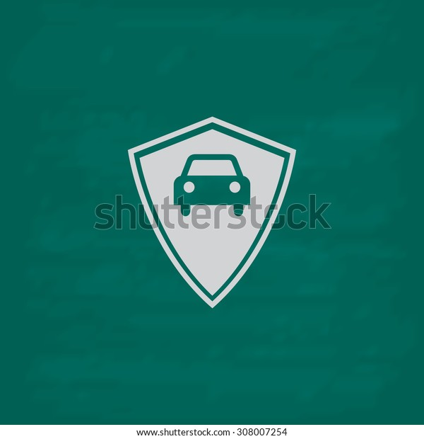 Vehicle shield. Icon. Imitation draw with white chalk on green chalkboard. Flat Pictogram and School board background. Vector illustration symbol