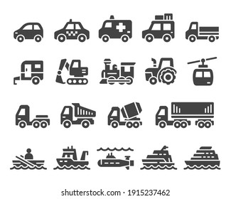vehicle and transport icon set,vector and illustration