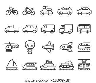 vehicle and transport thin line icon set,vector and illustration