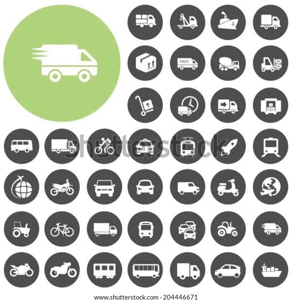 Vehicle and Transportation icons set