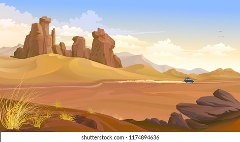 A vehicle travelling across the desert. Dust trails behind a car.