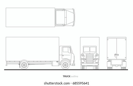 vehicle truck outline vector,plan,front,side