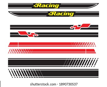 Vehicle vector Decal Stripes for the both parts, racing stripes for tuning cars