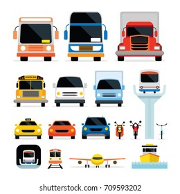 Vehicles, Cars and Transportation in Front View, Mode of Transport, Public and Mass