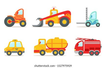 Vehicles and Construction Machinery Set, Tractor, Crawler, Bulldozer, Taxi, Fire Truck Vector Illustration