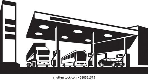 Vehicles at gasoline station - vector illustration