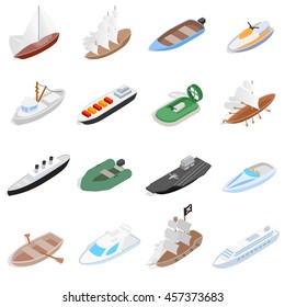 Vehicles motor boat icons se. Isometric 3d illustration of vehicles motor boat vector icons logo. Sailing elements set collection