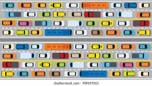 Vehicles on Road with Traffic Jam , Cars, Bus, Taxi, Truck, Top or Above View