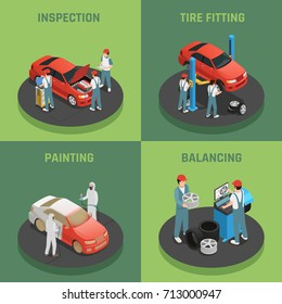 Vehicles repair and maintenance autoservice concept 4 isometric background icons square with car inspection balancing fitting vector illustration