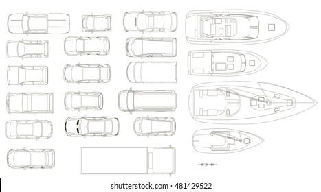 Vehicles, top view, vector