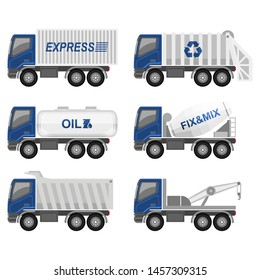 Vehicles Vector - Trucks Collections, Container, Garbage, Oil, Mixer, Dump truck, and towing truck - in flat design and cartoon style