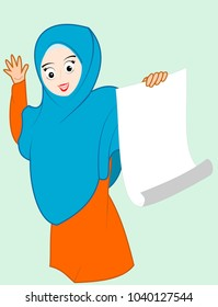 The veil woman shows something on paper, vector image