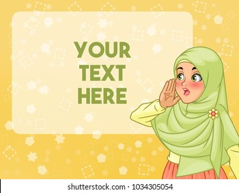 Veiled young muslim woman shout using her hands, cartoon character design, against yellow background, vector illustration.
