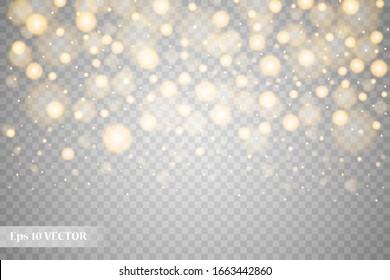 Vektor belykh, zolotykh blesk, volny abstraktnyye illyustratsii. Belaya zvezda pyli tropa igristykh chastits, izolirovannykh na prozrachnom fone. Volshebnaya kontseptsiya Vector white, gold glitter,