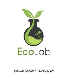 Vektor Eco Lab with Leaf and bottle lab logo design template. You can make brand identity or symbols for your company. Logo Health, Medical, Nature Lab or Pharmacy Nature