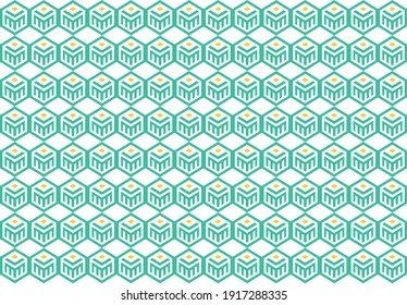 Vektor illustration template background seamless pattern logo double M, book, and sun.