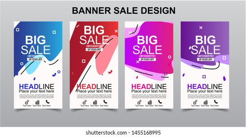 Vektor Modern Fluid For Big Sale Banners Design . Discount Banner Promotion Template