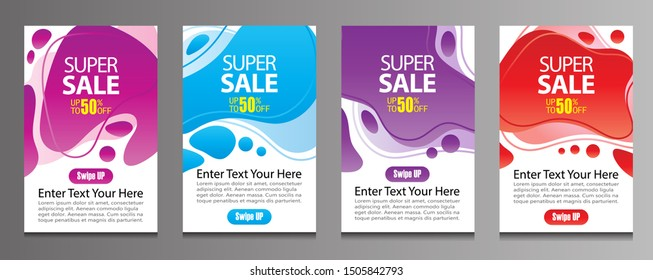 Vektor Modern Fluid For Big Sale Banners Design. Discount Banner Promotion Template. Special offer and sale banner discount up to 50% template design with editable text.