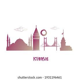 Vektor modern illustration Istanbul symbols