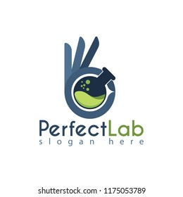 Vektor Perfect Lab with lab bottle and hand ok for Logo Design Template.You can make brand identity or symbols for your company. Logo Perfect Laboratory. Logo Chemistry Laboratory.