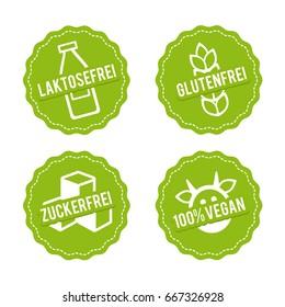 Vektor Symbole Vegan, Glutenfrei, Laktosefrei und Zuckerfrei. Lactose free, Gluten free, Sugar free and 100% Vegan.