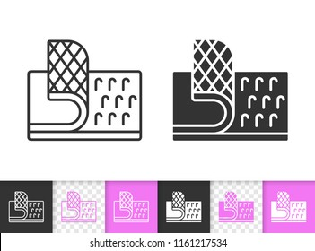 Velcro Fastener black linear and silhouette icons. Thin line sign of hook. Loop Texture outline pictogram isolated on white transparent background. Vector Icon of Velcro Fastener simple symbol closeup
