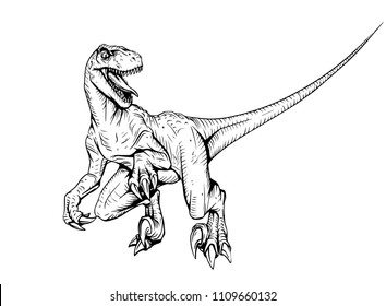 velociraptor dinosaur adult coloring book comic style illustration