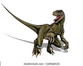 velociraptor dinosaur illustration hand drawn comic style