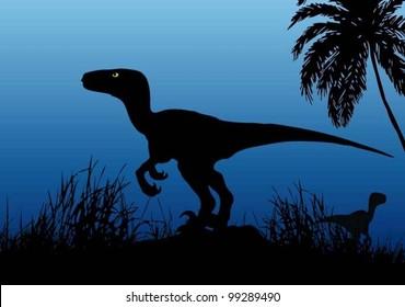 Velociraptor dinosaur - vector background