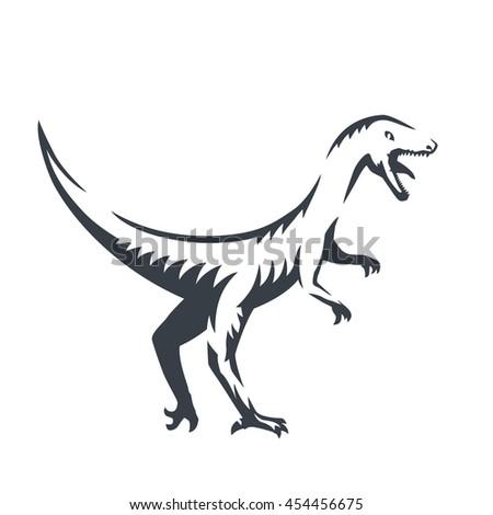 Velociraptor Raptorial Dinosaur Outline Vector Illustration Stock